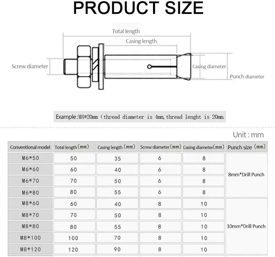 304 Edelstahl Sechskantmuttern H/ülse Anker Expansionsschraube YINSONG 1 St/ück M14 Ankerschrauben Edelstahl Silber , M14 150 mm