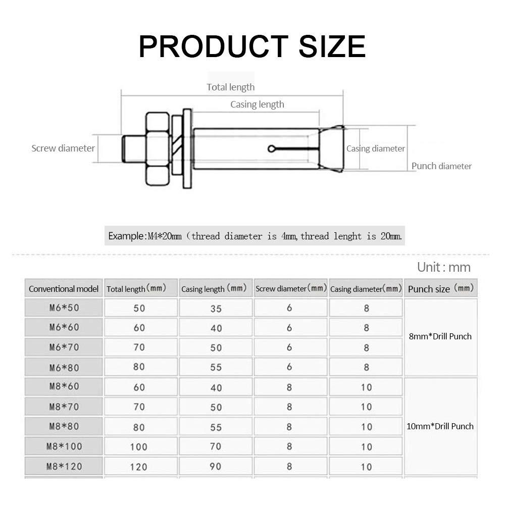 M8x120mm Diam/ètre de la vis * longueur de la vis XFentech 4 pi/èces Boulons dexpansion /à /écrou hexagonal M8 Ancrage /à douille en acier inoxydable 304 pour vis et /écrous