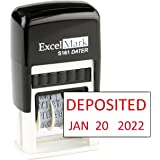 Deposited - ExcelMark Self-Inking Rubber Date Stamp - Compact Size - Red Ink