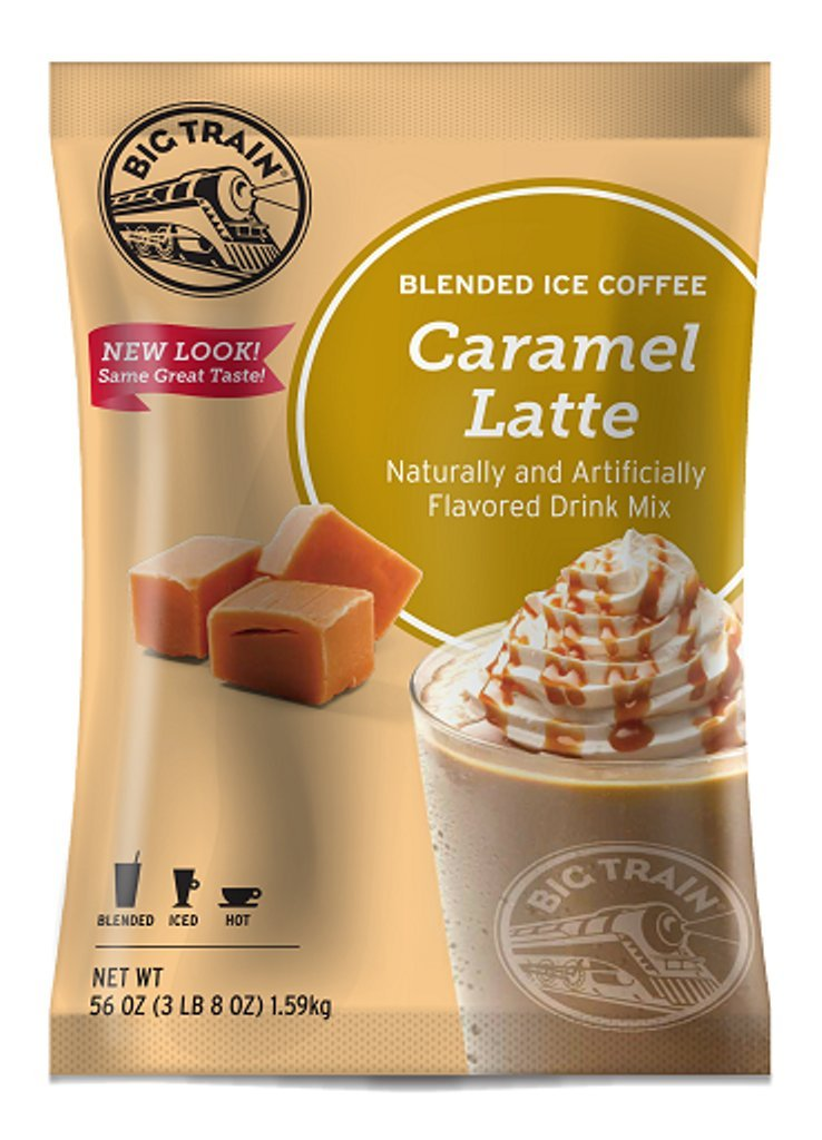 Big Train Blended Ice Coffee Caramel Latte 3.5 Lb (1 Count), Powdered Instant Coffee Drink Mix, Serve Hot or Cold, Makes Blended Frappe Drinks