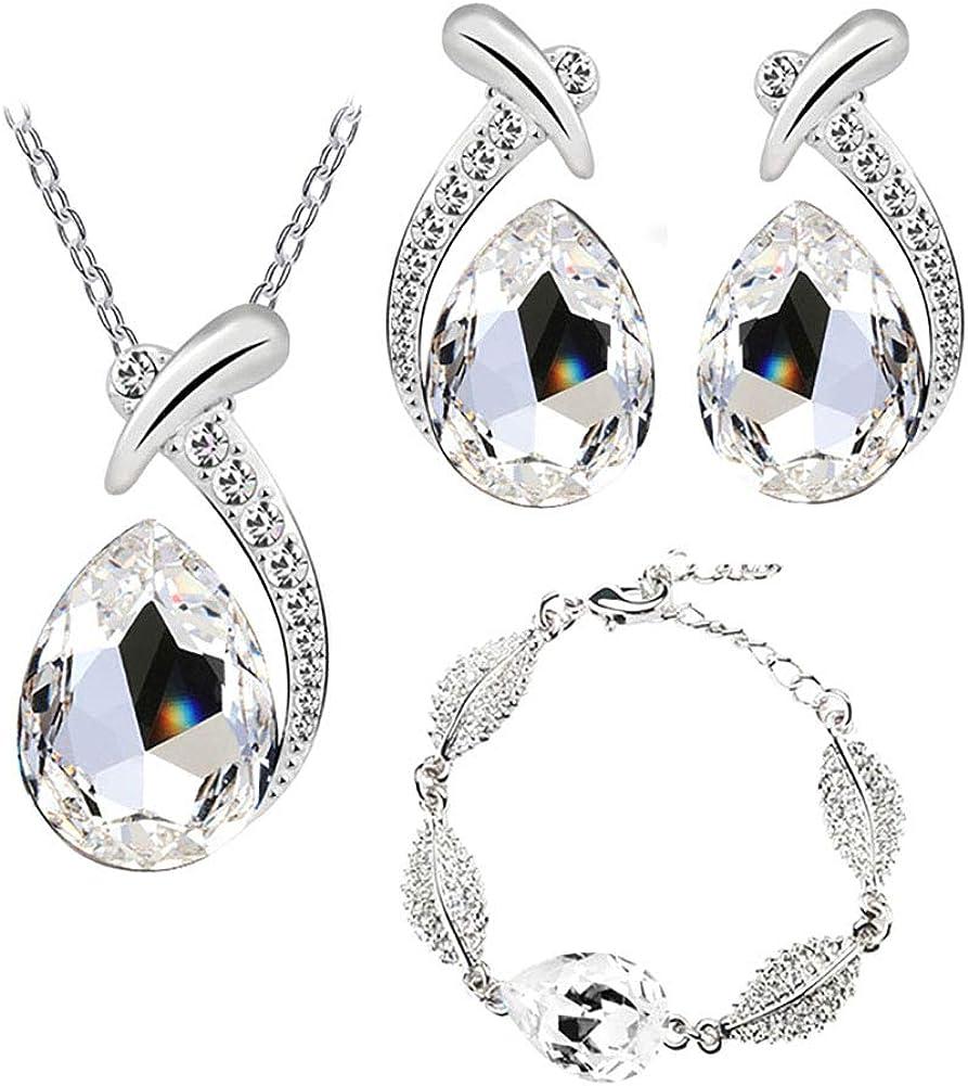 Beuya Mujer Conjunto de Joyas de Cristal Pendientes, Pulsera y Collar Colgante, Señoras Boda Fiesta decoración cumpleaños Regalo