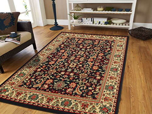 (Large Area Rug 8x11 Oriental Rugs Black Persian Rug Living Room All-Over Flowers Traditional Carpet Western Style)