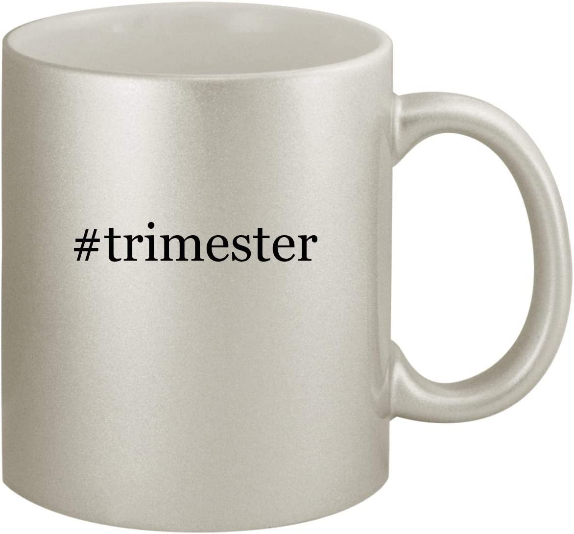 #trimester - Ceramic Hashtag 11oz Silver Coffee Mug, Silver