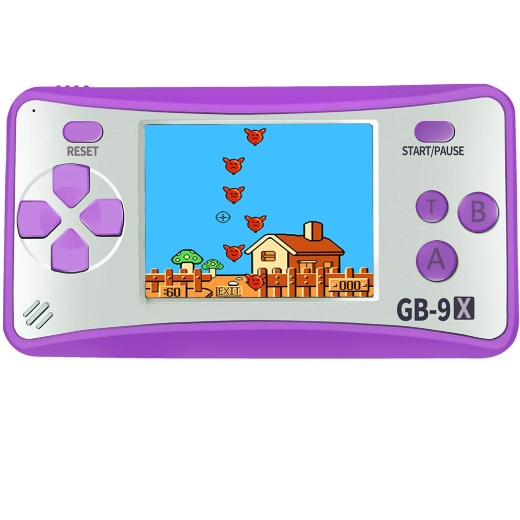 Great Boy GB-9X Handheld Game Console for Kids Built in 168 Classic Retro Games Plug & Play Video Games Entertainment Arcade System Player 2.5'' LCD Birthday Gift for Children (Purple)