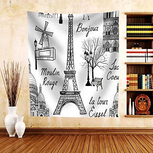 Gzhihine Custom tapestry Travel Paris Seamless Pattern. Vacation in Europe Wallpaper - Fabric Tapestry Home Decor - Philadelphia Outlets Map