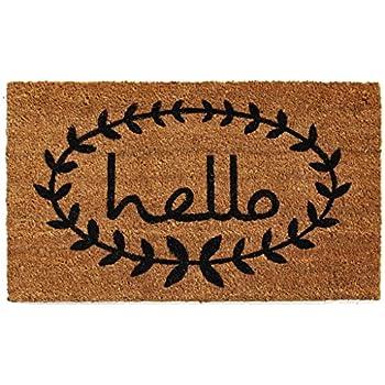 "Home & More 121812436 Calico Hello Doormat, 24"" x 36"" x 0.60"", Natural/Black"