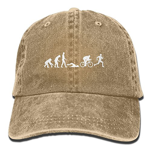 Richard Male Evolution Triathlon Unisex Cotton Washed Denim Leisure Hats Adjustable - Hats Triathlon