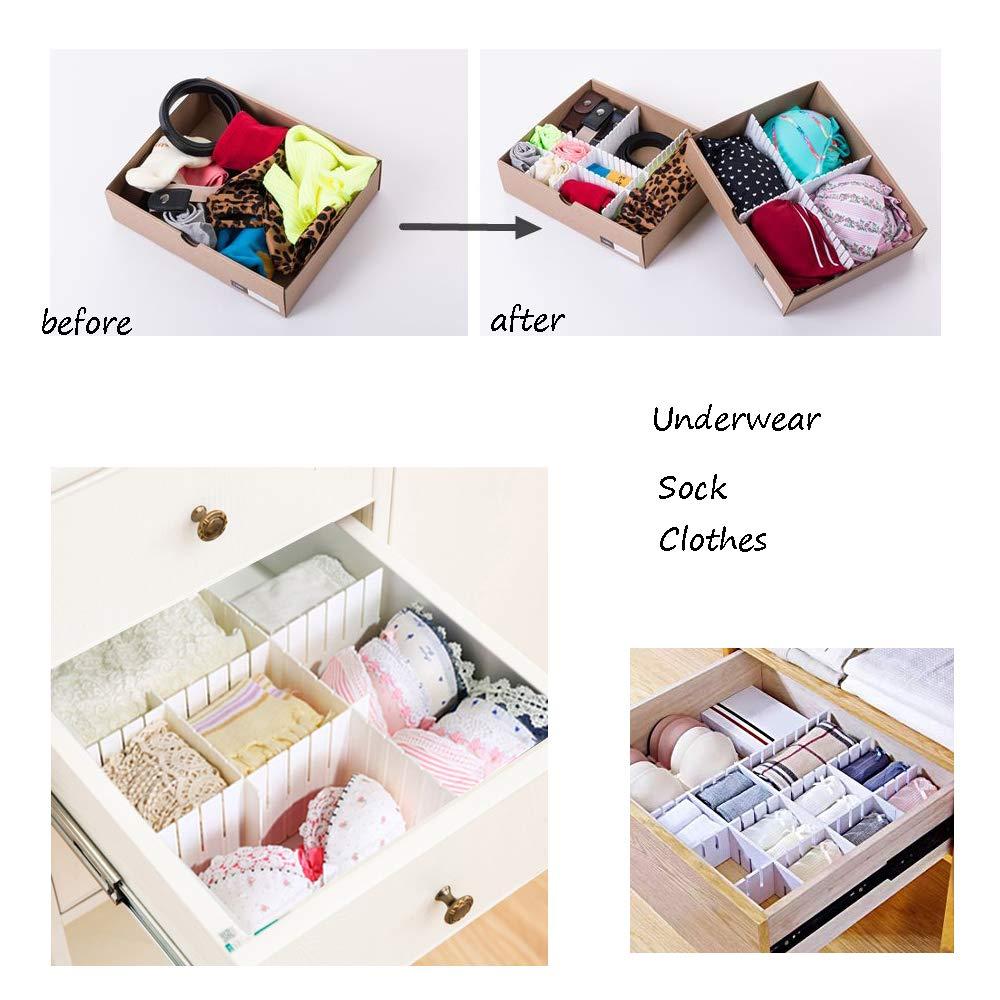 OJYUDD 12PCS DIY Plastic Grid Drawer Dividers,White Adjustable Sock Underwear Dresser Drawer Organizers Divider for Stationary Storage