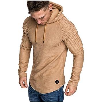 caidi Hombres Tee Shirt Slim Fit – Sudadera con capucha manga larga Mode abrigo sólido camiseta