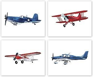 AtoZStudio Airplane Nursery Decor - Set of 4 Prints // Fighter Jet // Biplane Wall Art // Boy Girl Room Aviation Posters // Transportation Pictures // Plane Birthday Party Decoration (8x10, Set 4)