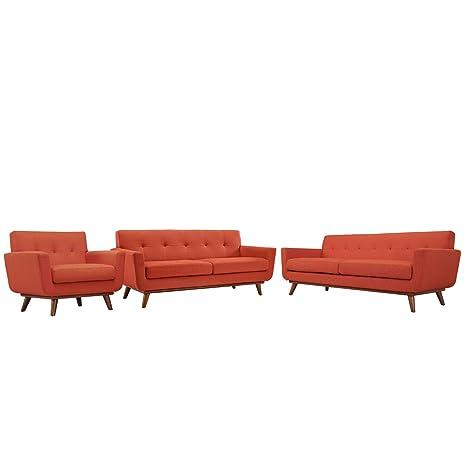 Modway Juego de 3 sofás y sillón de Motor, Color Rojo ...