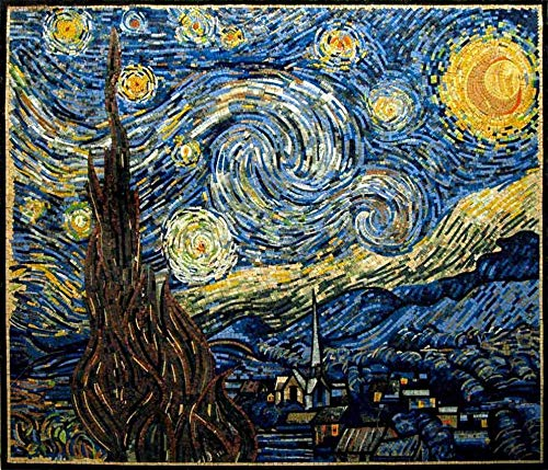 Van Gogh Glass Mosaic Tile - Vincent Van Gogh -Starry Night Reproduction Mosaic | Mosaic Designs | Mosaic Artwork | Mosaic Wall Art by Mozaico | Handmade Mosaics | 59