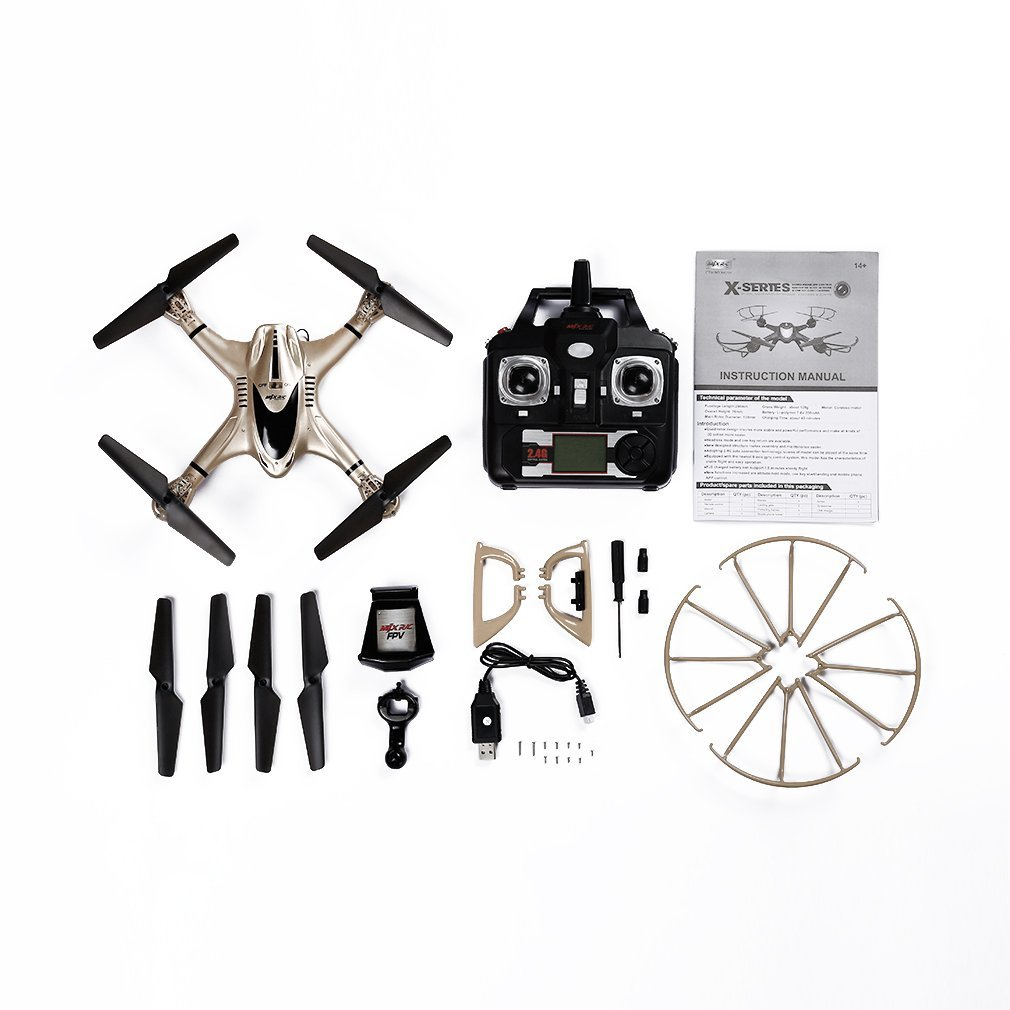 Juweishangmao 2.4GHz 4CH FPV WiFi 6 Axis Gyro Drone 0.3MP Camera Suitable with MJX X401H-Golden by Juweishangmao (Image #4)