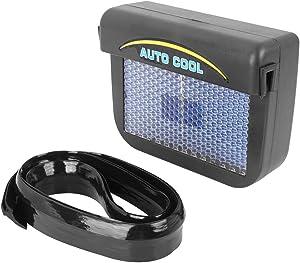 X AUTOHAUX Car Window Fan Solar Powered Car Window Fan Windshield Auto Air Vent Cooling Fan