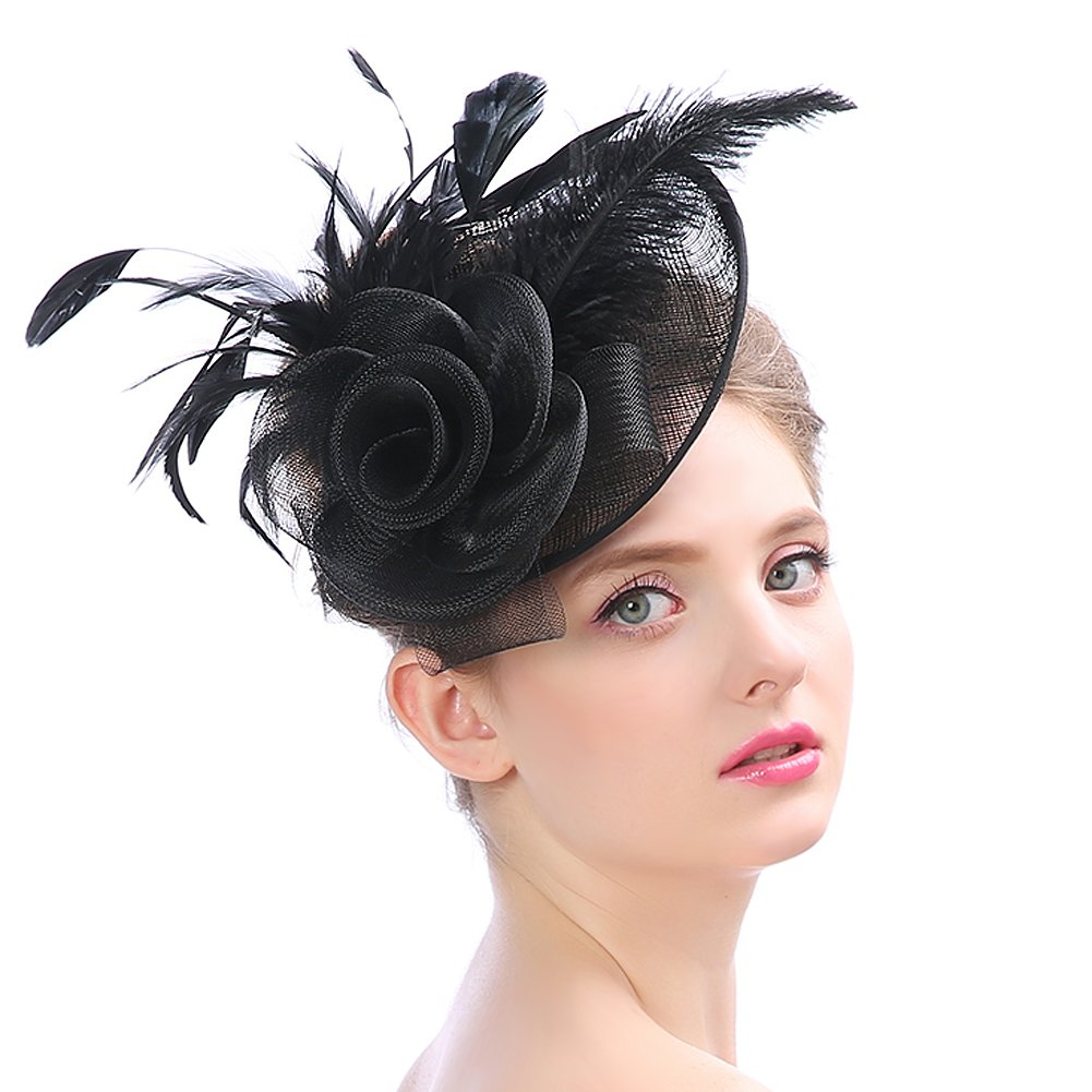 Lusiyu Womens Feather Mesh Net Sinamay Fascinator Hat with Hair Clip Tea Party Derby (Black 03) by Lusiyu (Image #1)