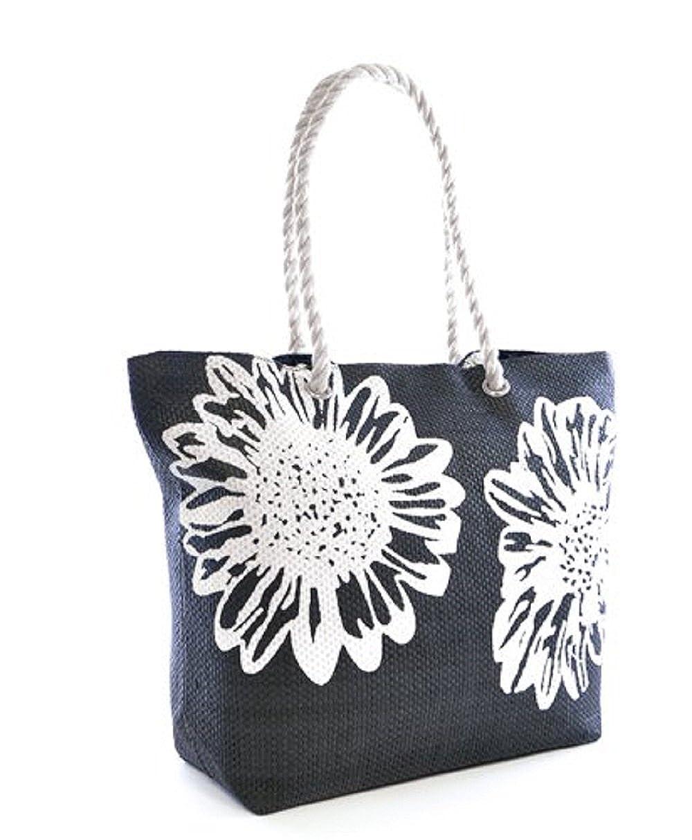 660c667661ff Amazon.com  Beach Bag Tote Bags for Women Ladies Large Summer Shoulder Bag  With Pocket Carrier Bag Flower (Black)  Clothing