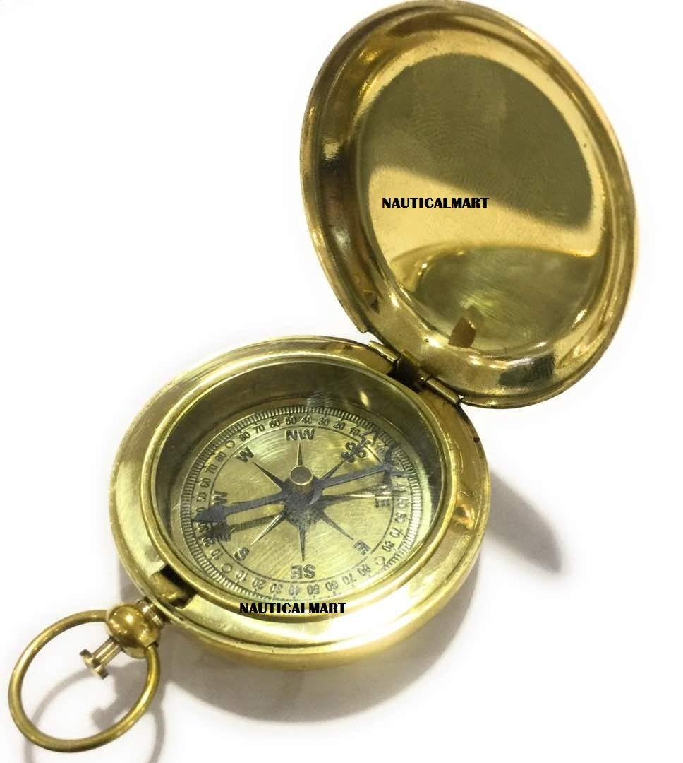 Brass Push Button Pirate Compass~ NauticalMart NauticalMart Inc