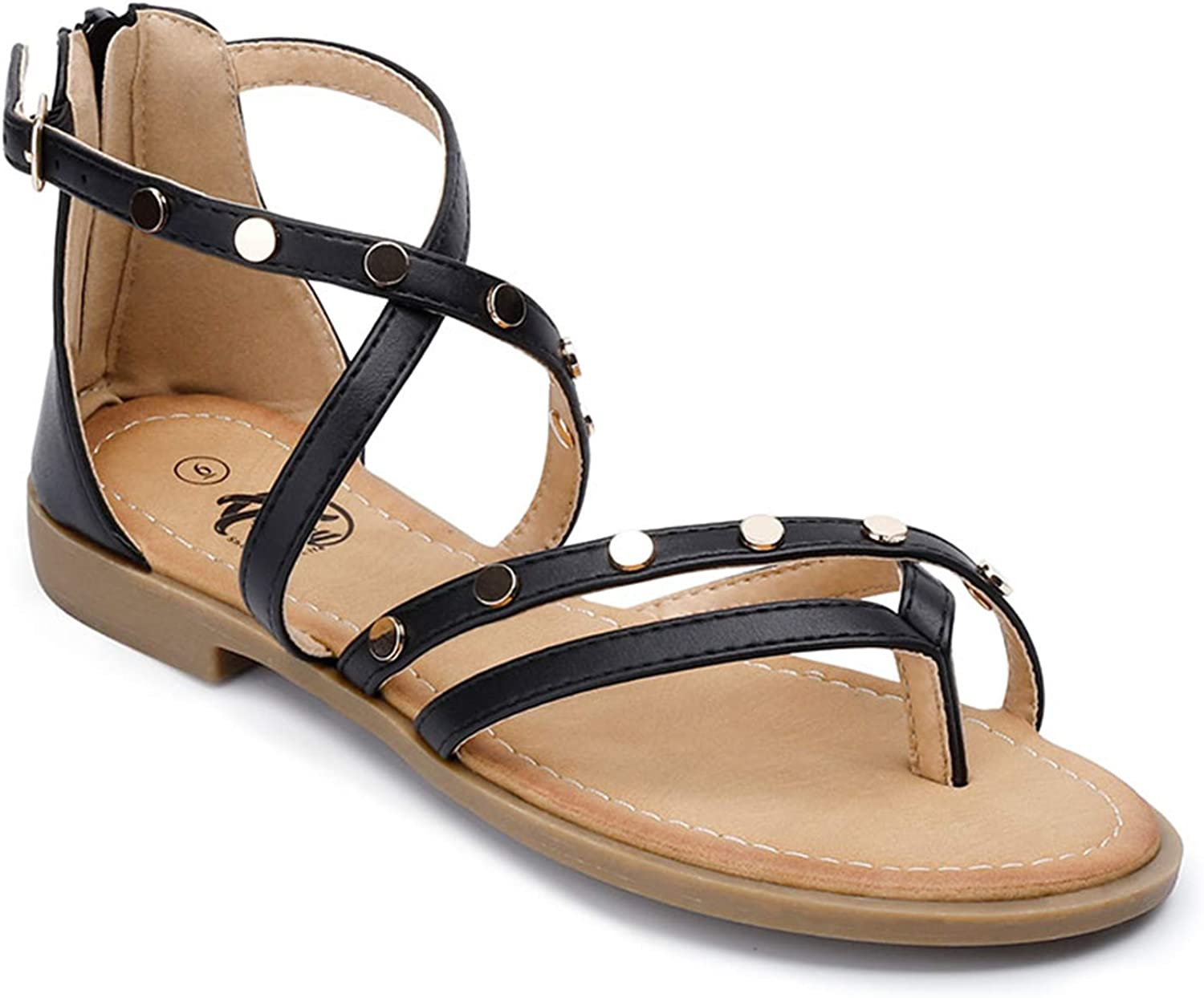 Trary Women's Flat Sandals Round Rivets