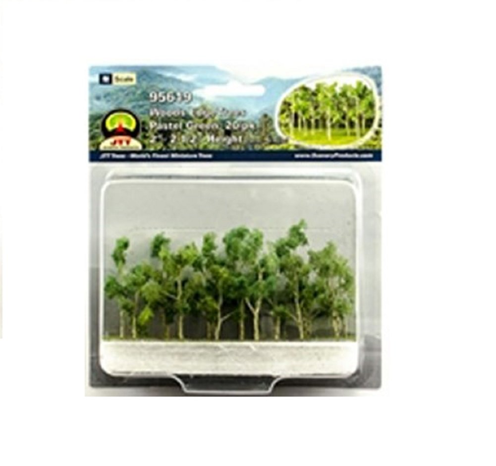 Woods Edge Trees Pastel Green 2'' to 2.5'' N-scale 20/pk