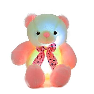 AMFO LED Light Nights Teddy Bear Stuffed Animals Plush Night Light Toy Colorful Gleamy Gift 20Inch (Pink&White)