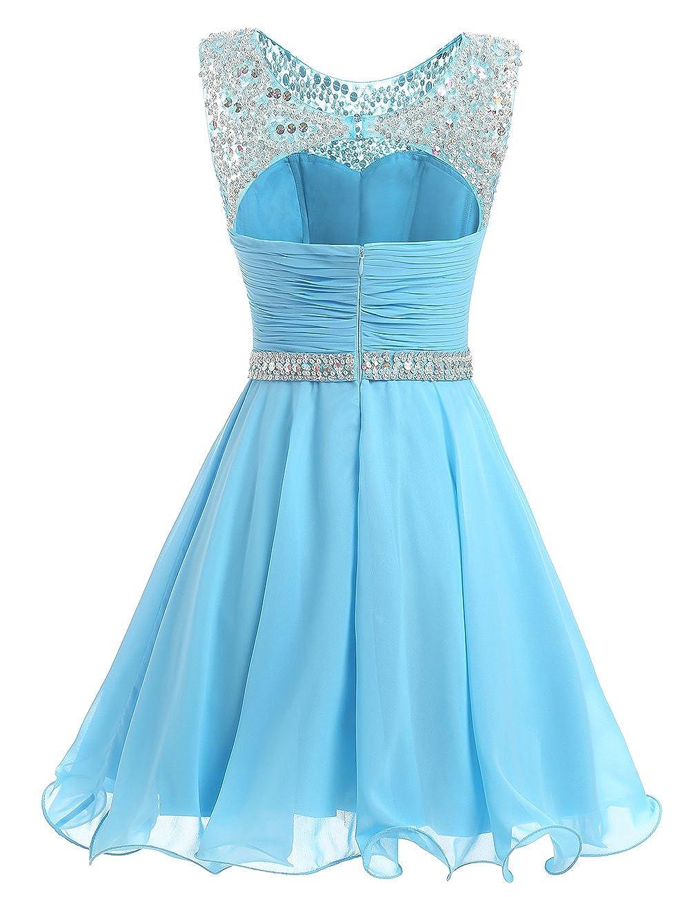 ce9e4249ac4 Dresstells reg  Short Chiffon Open Back Prom Dress with Beading Evening  Party Dress  Amazon.co.uk  Clothing