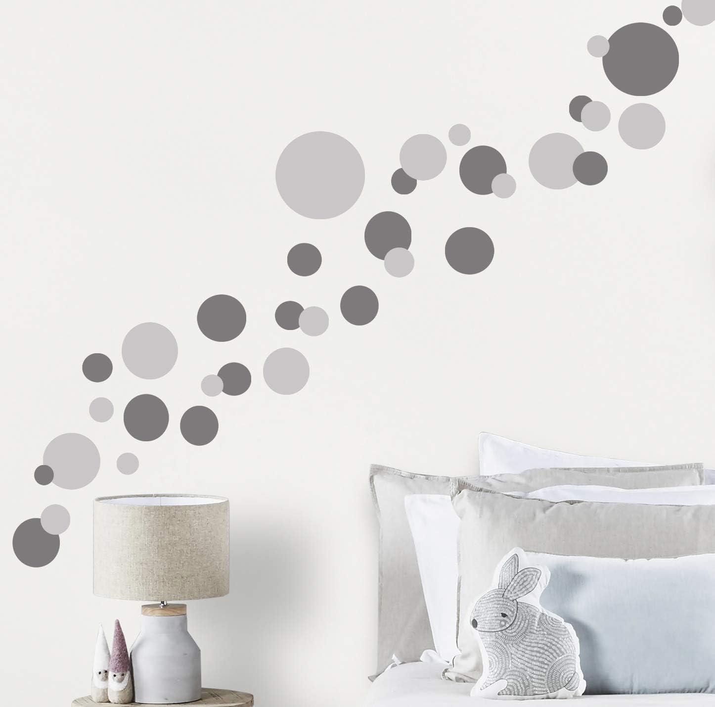 Wall Decor Dots, Polka Dot Wall Decals for Girls Room Walls Decor Stickers Bedroom Kids Art (Dark & Light Grey)