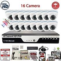 Evertech 16 Channel HD DVR w/ 16 pcs 4in1 AHD TVI CVI ANALOG 1080P Varifocal Manual Zoom Dome HD CCTV Home Security Camera System Set w/ 2TB Hard Drive