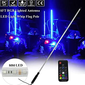 5ft RGB LED Lighted Antenna Light Whip Flag Pole For ATV UTV RZR Off Road Buggy
