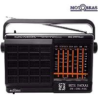 Rádio Portátil 7 Faixas AM/FM/OC Preto RM PFT 73AC - MotoBras