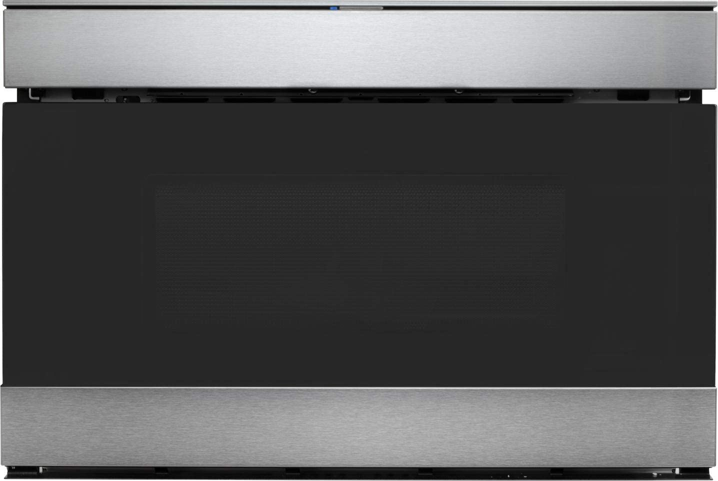"Sharp SMD2489ES 24"" loT Microwave Drawer with 1.2 cu. ft. Capacity, 950 Watts, 11 Power Levels, Edge-to-Edge Black Glass, in Stainless Steel"