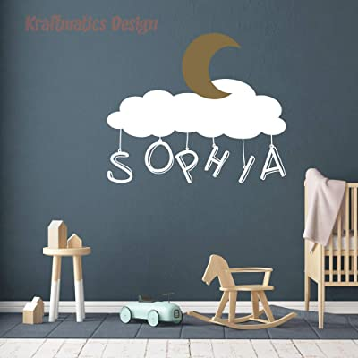 """to The Moon Name Wall Decal Vinyl Sticker Nursery for Bedroom. by Kraftmatics Design (Large W 42"""" x H 32""""): Arts, Crafts & Sewing"""