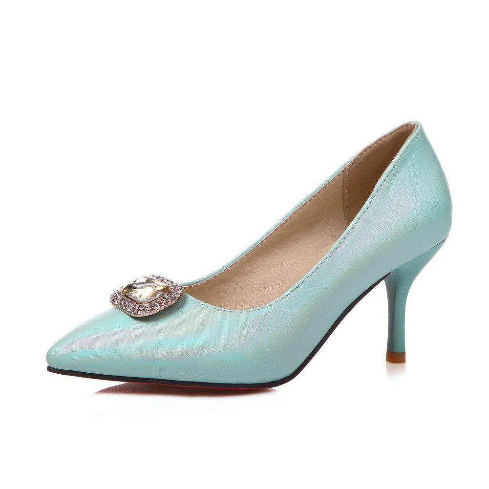 BalaMasa Girls Metal Ornament Glass Diamond Winkle Pinker Blue Imitated Leather Pumps-Shoes - 6.5 B(M) US