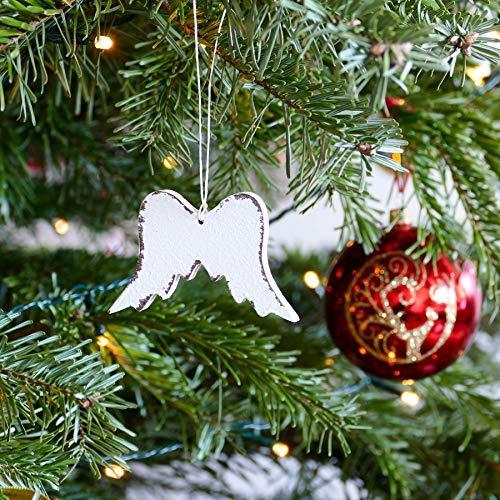 Handmade Shabby Chic Christmas Tree Decoration Set of 12 Wings Angel Tree ornaments Heart