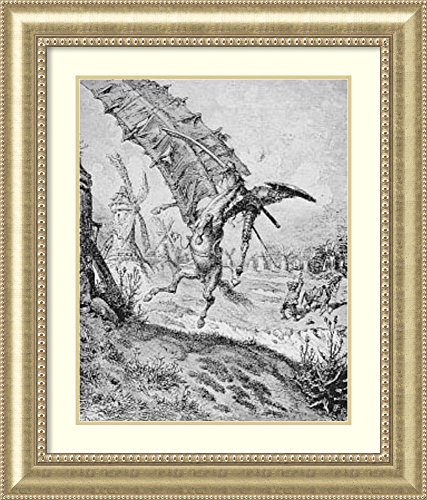Framed Art Print 'Don Quixote and The Windmill' by Gustave Dore