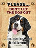 Bernese Mountain Dog - Don't Let The Dog Out... - New 9X12 Realistic Pet Image Aluminum Metal Outdoor Dog Pet Sign. Will Not Rust!
