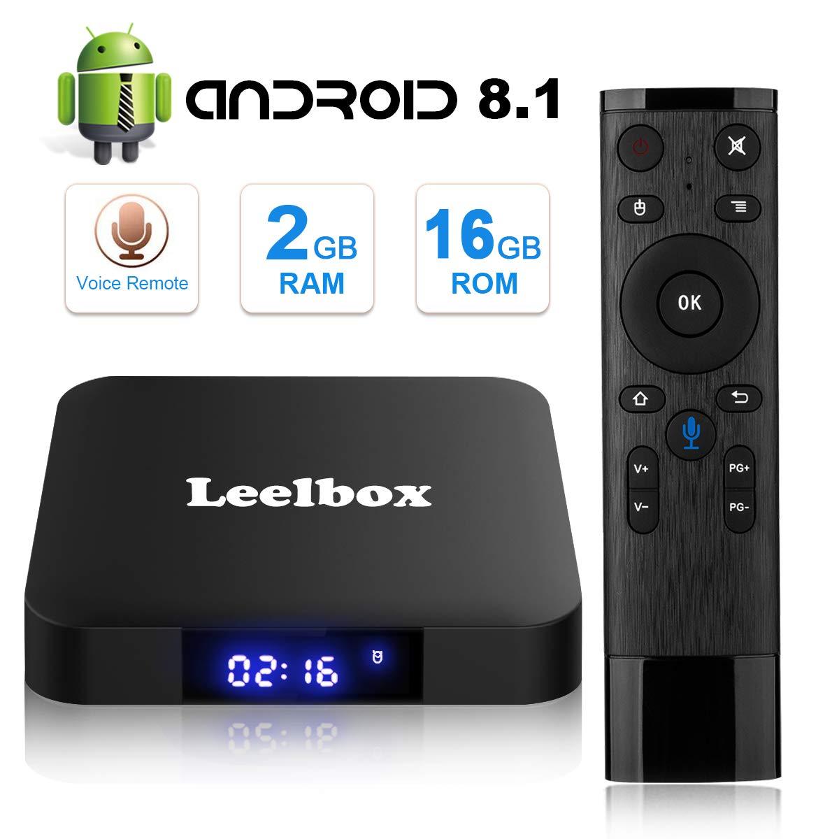 TV Box Android,8.1 tv box 2.4GHz WiFi Android Set-Top Box Amlogic S905W Quad-Core 2GB RAM /& 16GB ROM,4K Ultra HD Leelbox Smart TV Box con Telecomando Vocale