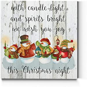 Renditions Gallery Candle Light Snowmen Wall Art, Cute Christmas & Winter Artwork, Festive Faux Wood Background, Premium Gallery Wrapped Canvas Decor, Ready to Hang, 32 in H x 32 in W, Made in America