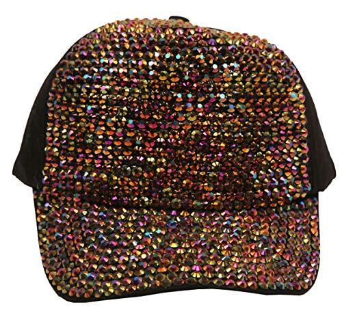 (Women's Fashion Bling Sparkle Rhinestone Trucker Baseball Hat Multi Gem)
