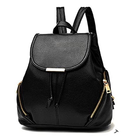 Redlicchi PU Leather Backpacks Students School bags for Girls Teenagers  Travel Rucksack Black Color Small Shoulder Bag  Amazon.in  Bags a61d47d43641b