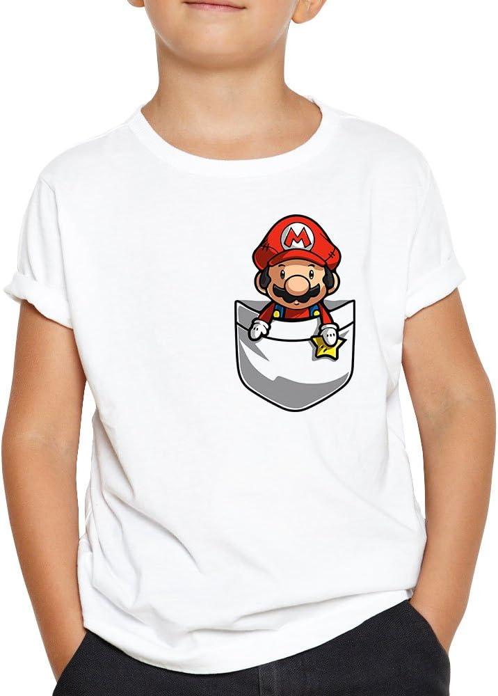 OKAPY Camiseta Super Mario de Bolsillo. Una Camiseta de Niño con el Dibujo de Una Porción de Pizza. Camiseta Friki de Color Blanca: Amazon.es: Ropa y accesorios