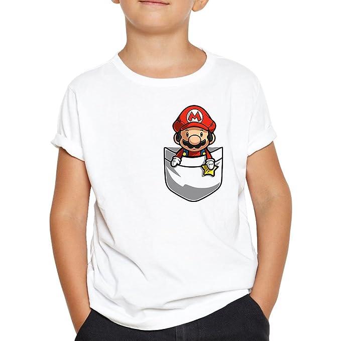 OKAPY Camiseta Super Mario de Bolsillo. Una Camiseta de Niño con el Dibujo de Una