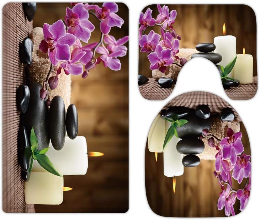 Pink Floral Butterfly Orchid Rustic Zen Bathroom Rugs and Mats Sets 3 Piece, Memory Foam Bath Mat, U-Shaped Contour Shower Mat Non Slip Absorbent, Velvet Toilet Lid Cover Washable