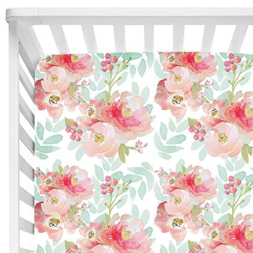 Sahaler Baby Floral Fitted Crib Sheet for Boy and Girl Toddler Bed Mattresses fits Standard Crib Mattress 28x52 (Pink Mint -