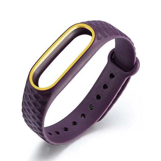 Para XIAOMI MI Band 2, ❤ Manadlian Correa para la muñeca Reloj de silicona de repuesto Pulsera Band Para Xiaomi Mi Band 2 (Amarillo púrpura): Amazon.es: ...