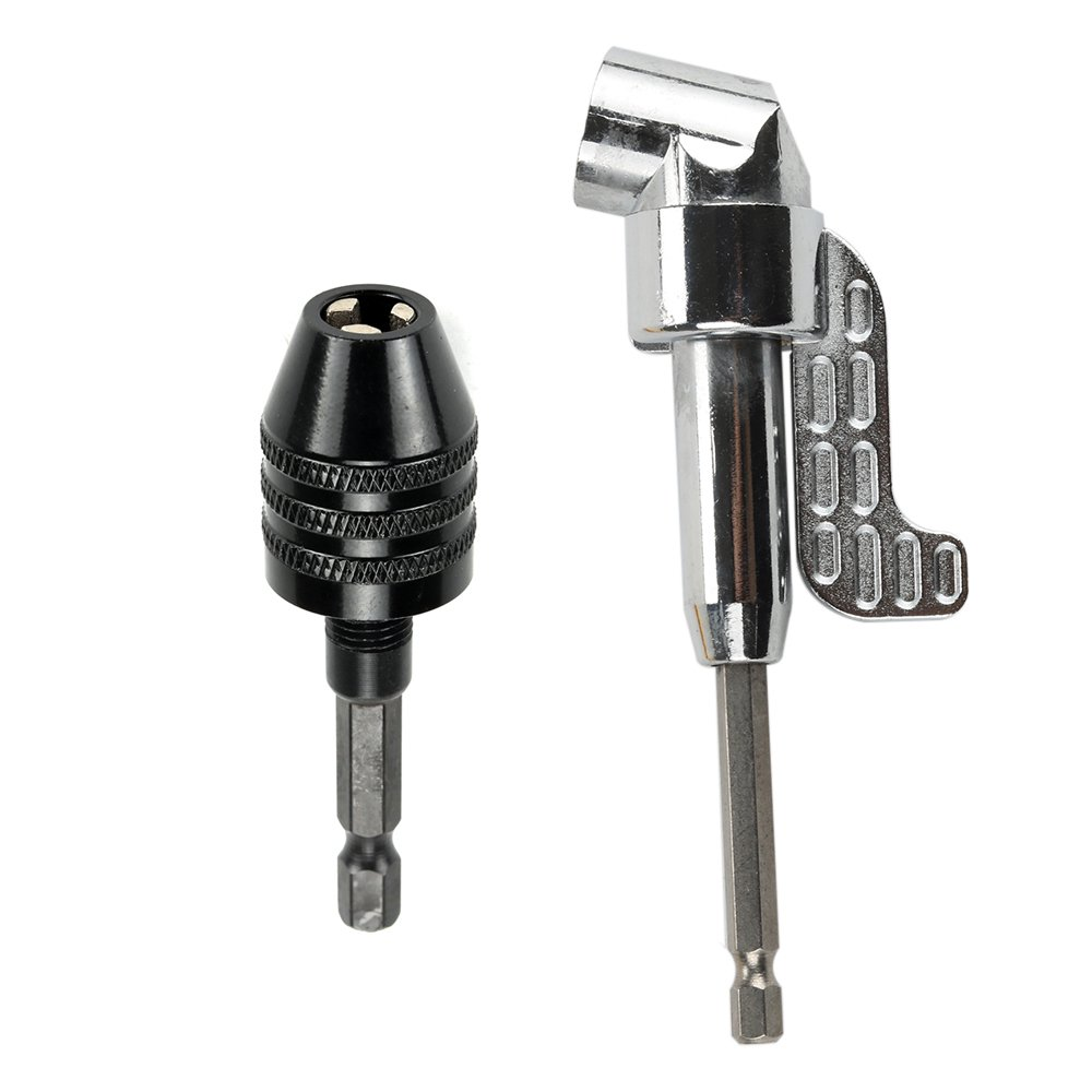 Breynet 105 Degree Right Angle Drill Driver Angle Extension Power Screwdriver Drill Attachment + 0.3-6.5mm Keyless Drill Chuck Conversion Tool 1/4 inch Hex Shank Quick Change Adapter Converter