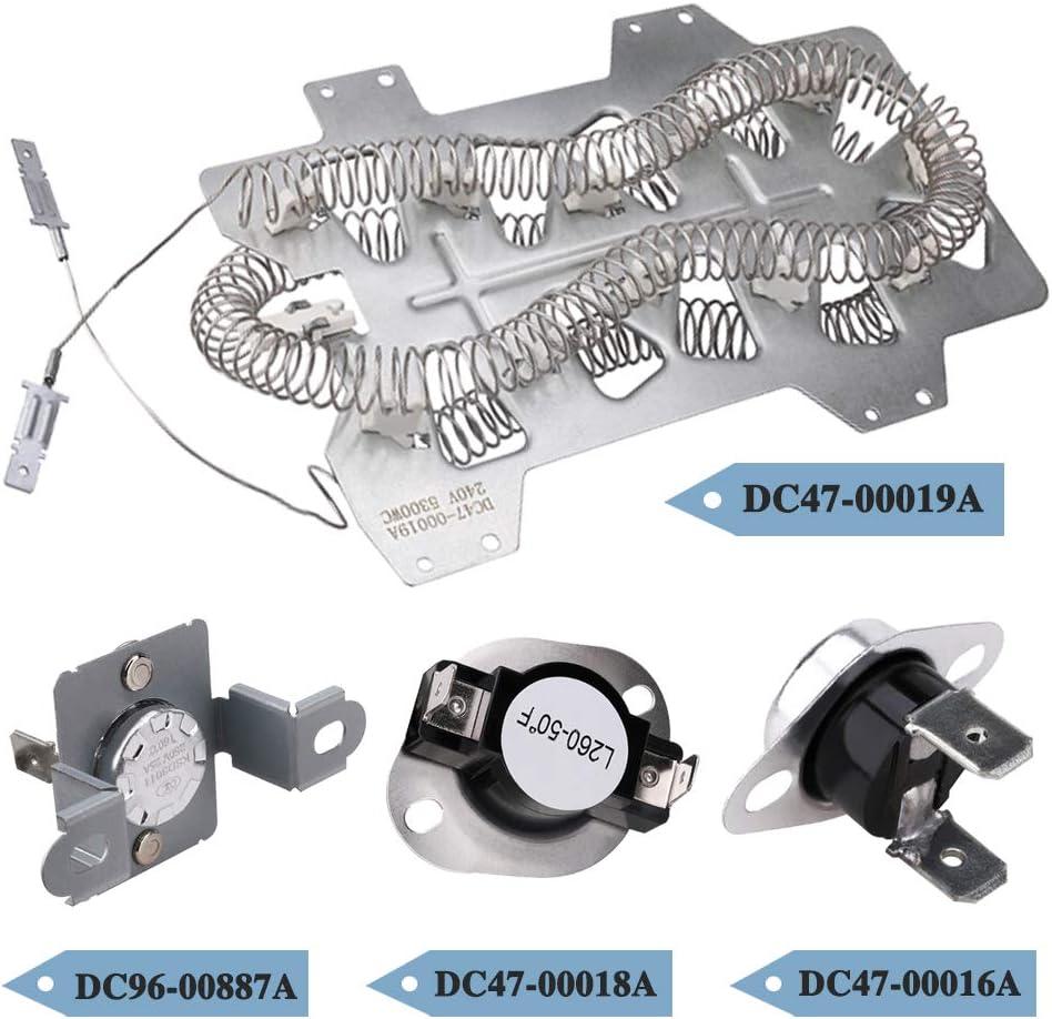 4 PCS AP4201899 2068550 Dryer Heating Element Coil for Samsung, Replaces DC47-00019A PS2038533 EAP2038533 35001247 AP4045884, Part kit dv45h7000ew a2 dv50f9a7evp a2 dv350aep dv220aew dv5451aew