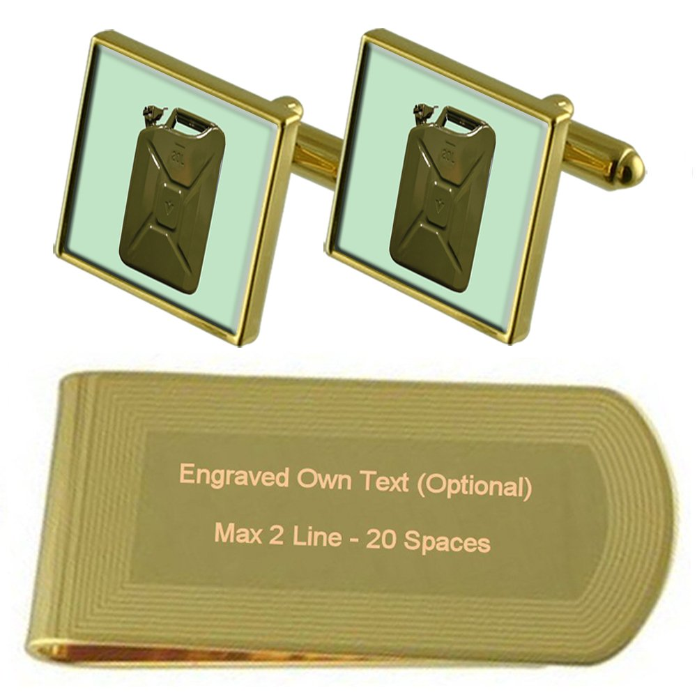Jerry Fuel Can Gold-tone Cufflinks Money Clip Engraved Gift Set