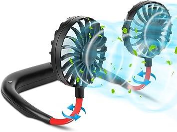 Ventilador de Cuello, 3 velocidades de Viento, Ventilador Personal Portátil USB Recargable, Ventilador de Manos Libres, Ventilador de Refrigeración con Doble Cabeza de Viento Ajustable de 360°: Amazon.es: Electrónica