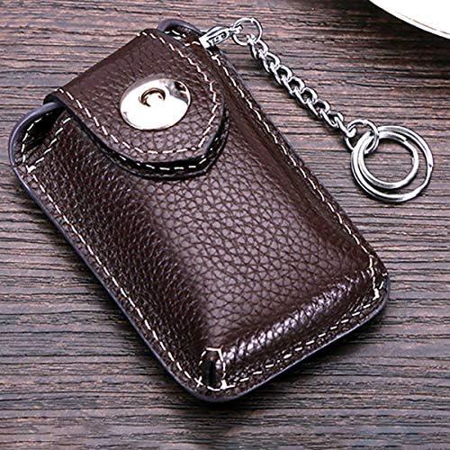 Color : Color Brown Fishagelo Men Genuine Leather Car Key Case//Bag