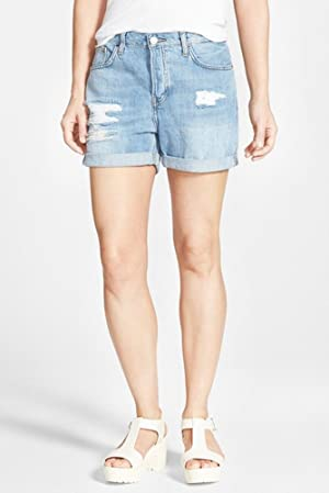 Topshop Womens Button-Fly Cuffed Distressed Denim Shorts Blue 2
